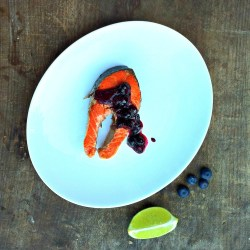 grilled cedar planked salmon with fresh blueberry chutney
