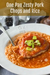 One Pan Zesty Pork Chops and Rice Recipe