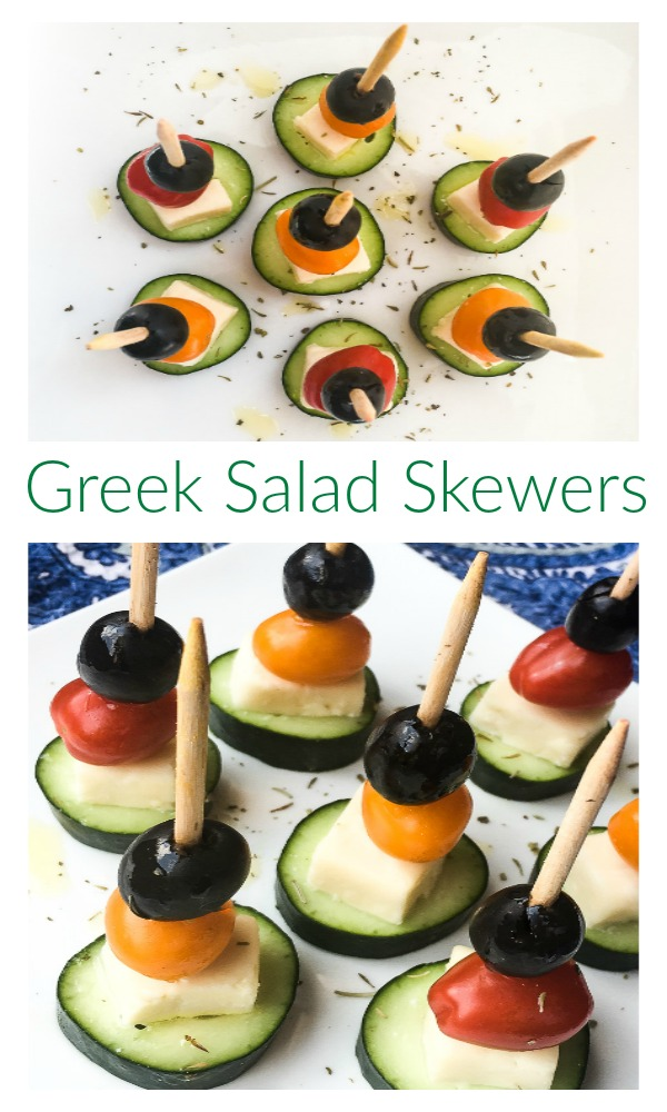 quick and super simple greek salad skewers