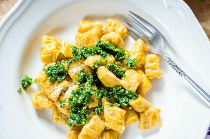 sweet potato gnocchi topped with pesto