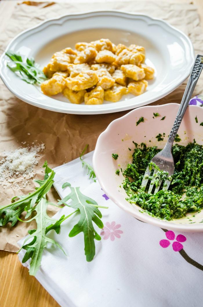 sweet potato gnocchi with cilantro pesto