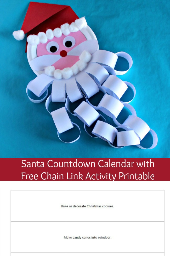 Santa Countdown Calendar with free chain link activity printable