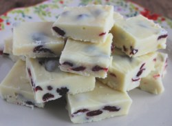 Creamy Cranberry Eggnog Fudge