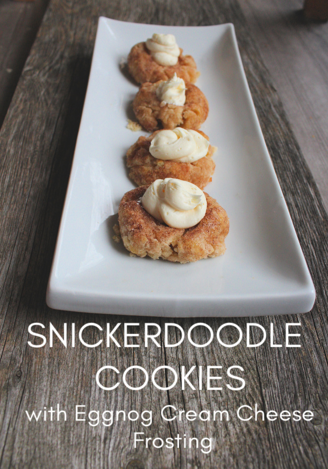 snickerdoodle thumbprint cookies with eggnog cream cheese frosting