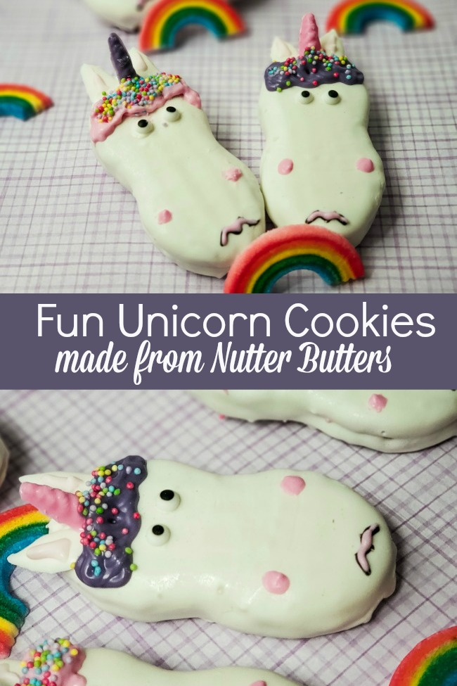fun unicorn cookies made from nutter butters