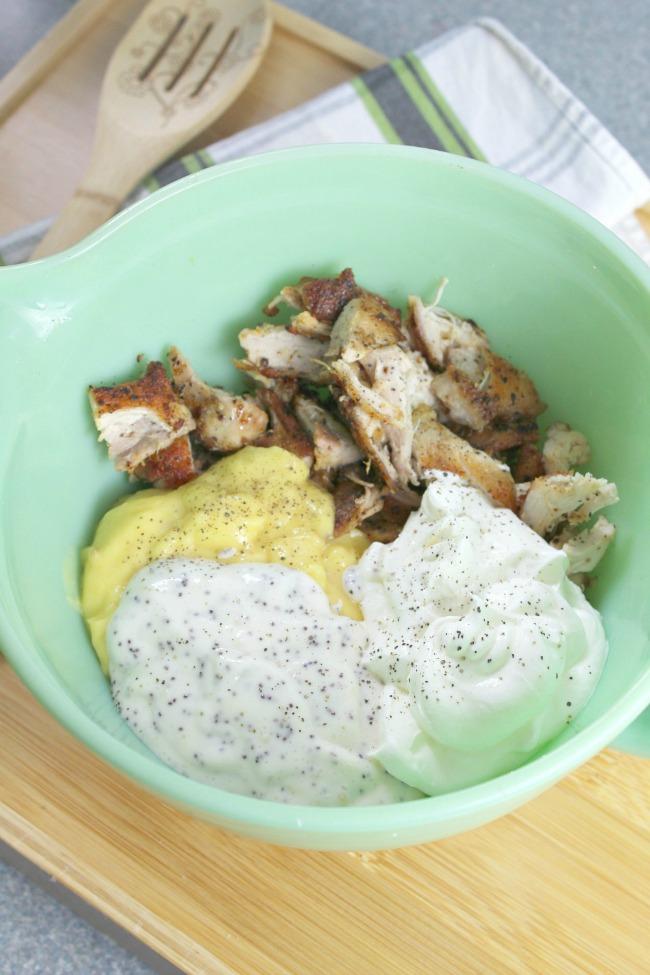assembling ingredients for lemon poppy seed chicken casserole
