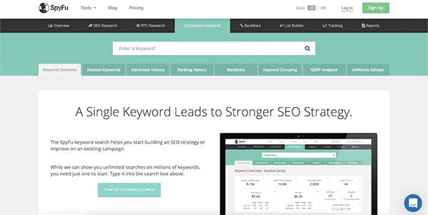 SPYFU keyword tool