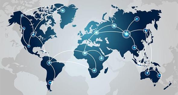 Tech World Map Vector