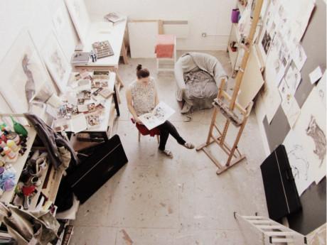 Lara Scouller, artist, dundee, inside studio, artist studio, scotland, drawing, 2013,