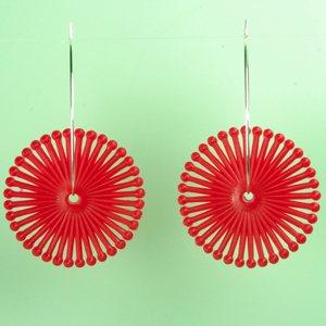 vintage red spiral lucite earrings by Cara Lyndon Jewelry