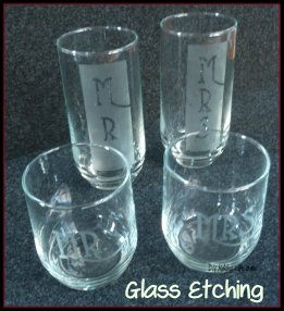 Glass etching: a wedding gift