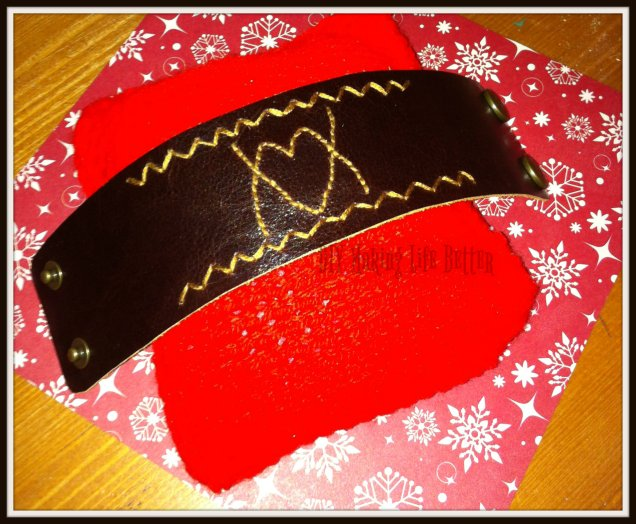 Embroided leather cuff