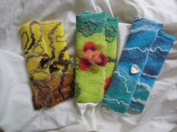 3 felted purses in a row