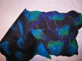 Merino felt scarf in black, blue, green and aqua