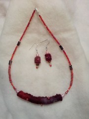 Maroon felt earrings and necklace