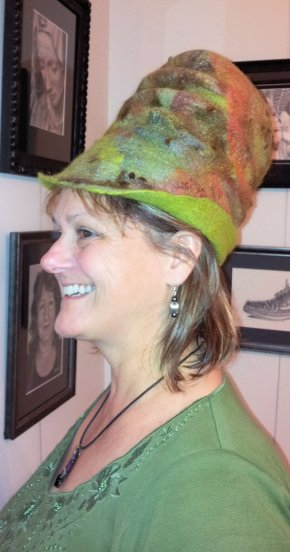 Green Felt hat side