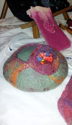 Green and orange felted bowl