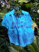 Blue silk blouse eco-dyed wit purpled carrots and cabbage