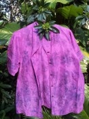 Pink sillk blouse eco-dyed with purple carrots and rose leaves
