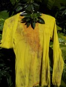 Yellow long sleeve tee eco-dyed with tea-tree, euc and onion skins