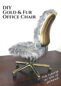 Make this fur and gold office chair with a full step by step tutorial