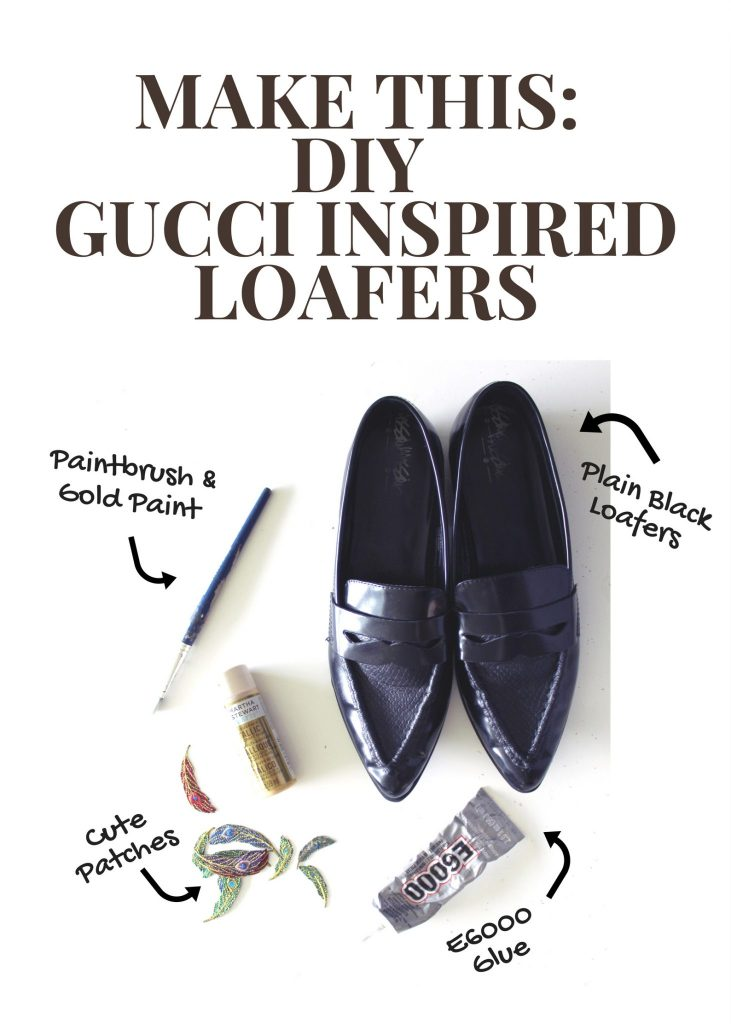 Refashion boring black loafers and make these glam Gucci Inspired shoes
