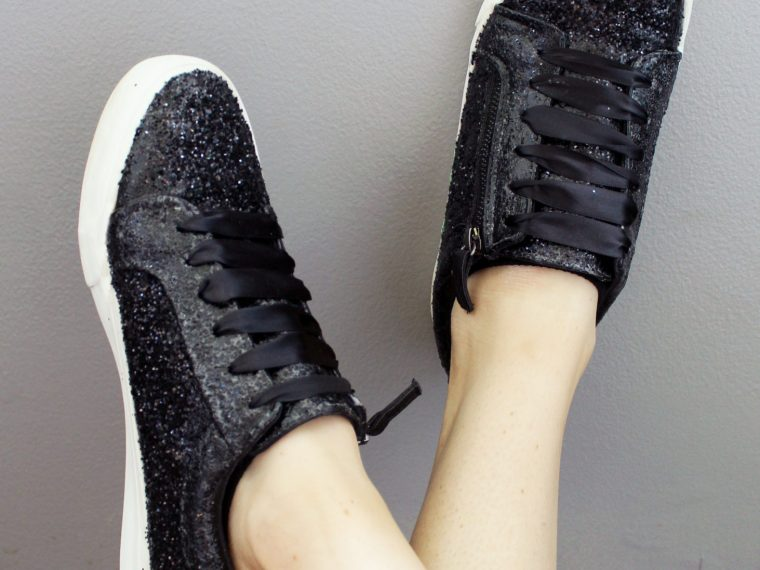 DIY Black Glitter Sneakers