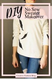 DIY feather stencil sweater refashion makeover