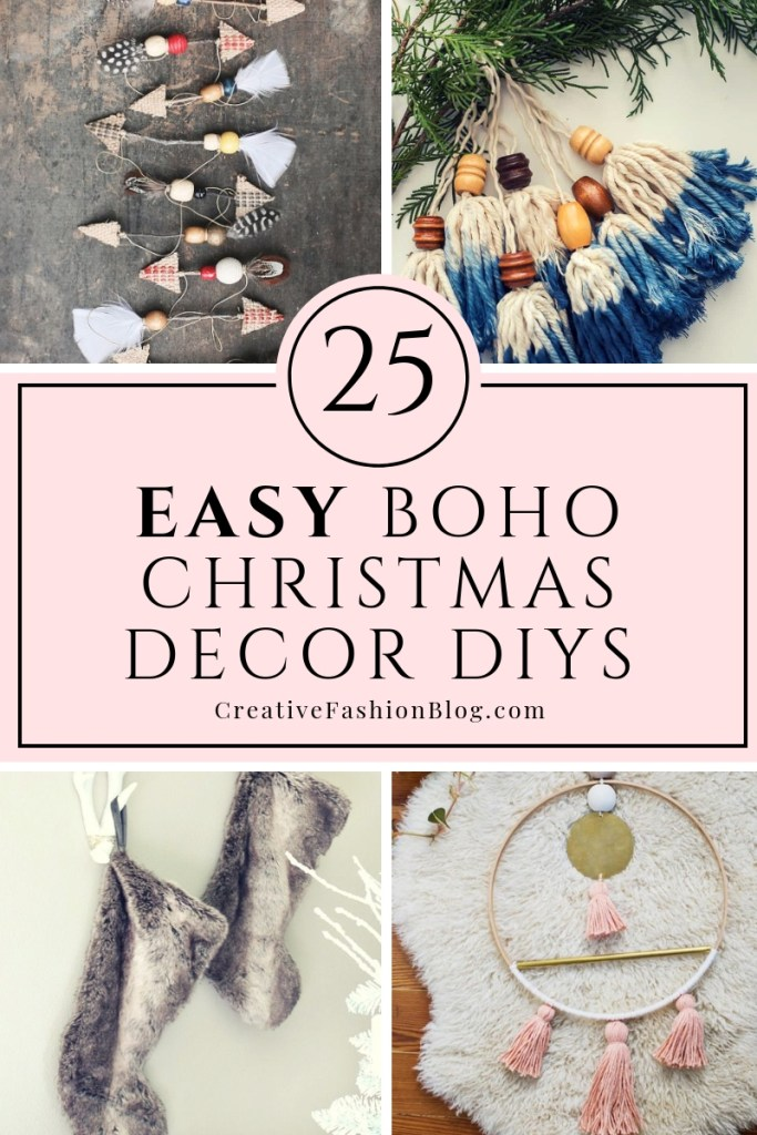 25 natural Boho Chic Christmas Decor DIY Ideas Ornaments Wreaths and garland