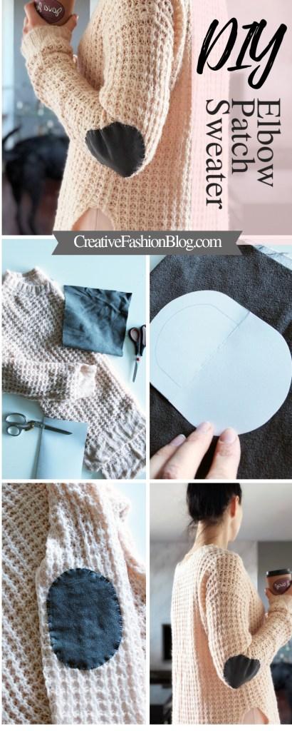 DIY Suede Elbow Patch Sweater Tutorial Wool Knit Refashion Idea