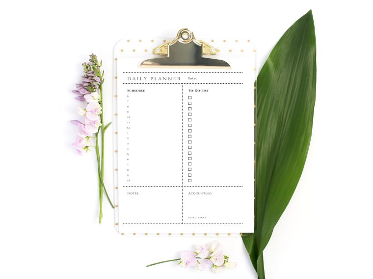 FREE Daily Planner Printable with goal setting worksheets and gratitude journal