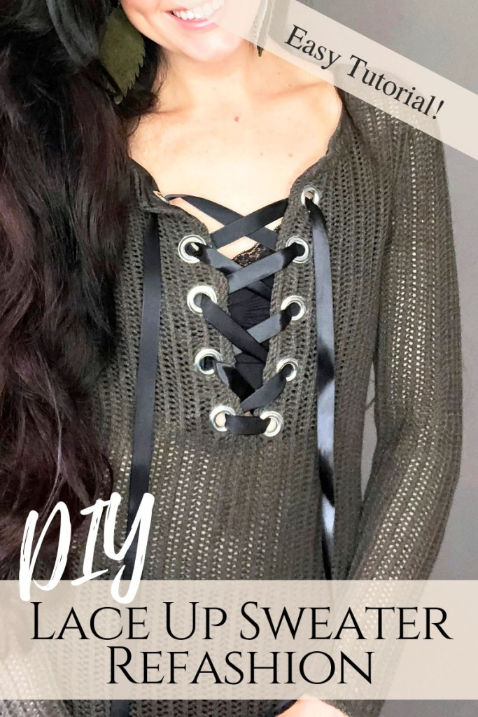 64b5ce0451 Hiow to Refashion a basic knit sweater into a lace up one with grommets..  How ...
