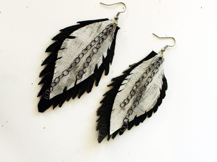 Make your own easy leather earrings with this DIY
