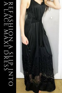 Refashion a basic slip into a fitted maxi dress with this clothing DIY sewing tutorial