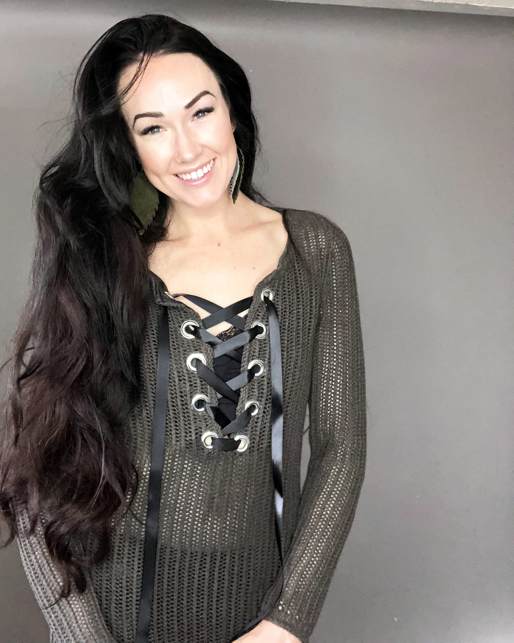 27d1bab443 How To Make A Sweater - A DIY Grommet Refashion - Creative Fashion Blog