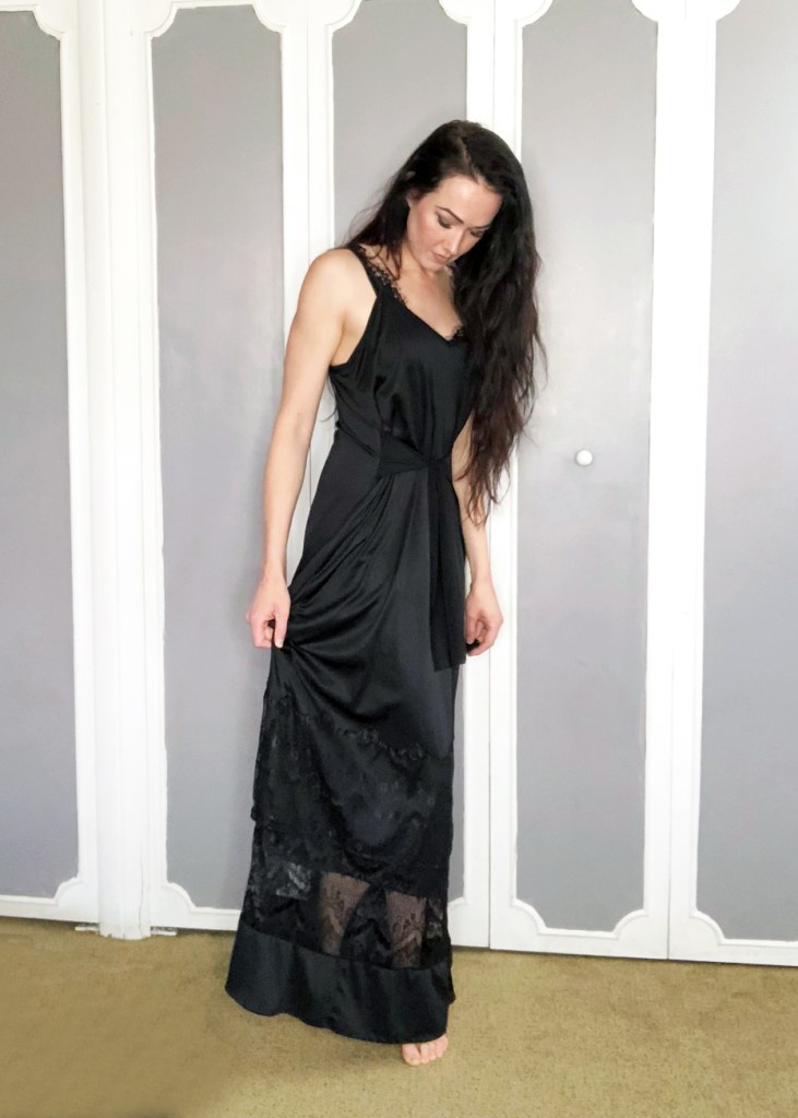 Refashion a black slip into a lace maxi dress with this clothing DIY