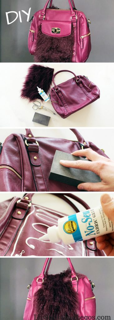 How to add a fur to an old purse. A simple refashion DIY tutorial