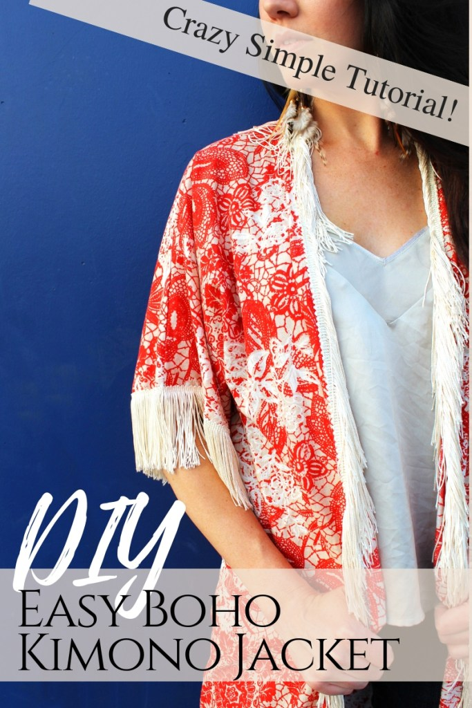 How to make a simple Boho style DIY kimono with fringe from scratch