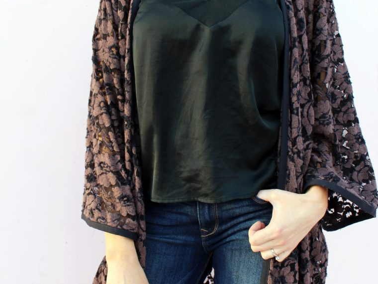how to Make a DIY Lace Kimono cardigan robe from scratch