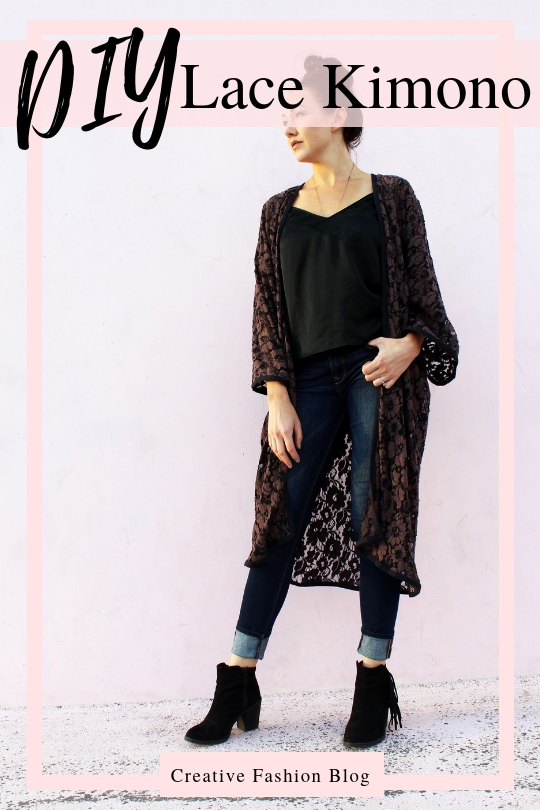 how to Make a simple DIY Lace Kimono cardigan robe from scratch