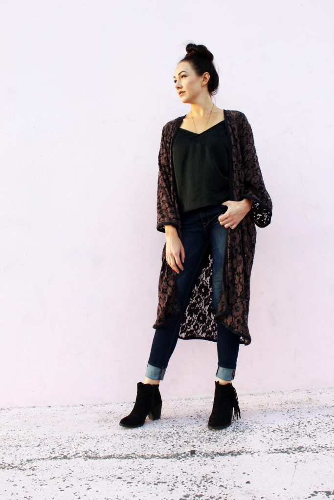 how to Make an easy DIY Lace Kimono cardigan robe from scratch