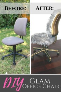 Makeover a boring office chair to be this glam gold and fur one
