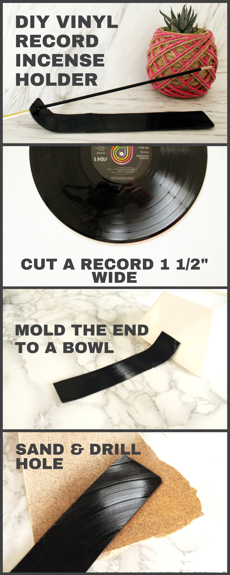 Recycle a Vinyl Record into a DIY Incense Holder with this step by step tutorial