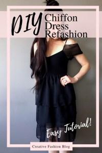 Refashion ideas Little Black Dress Makeover. Make this DIY Chiffon Ruffled Dress