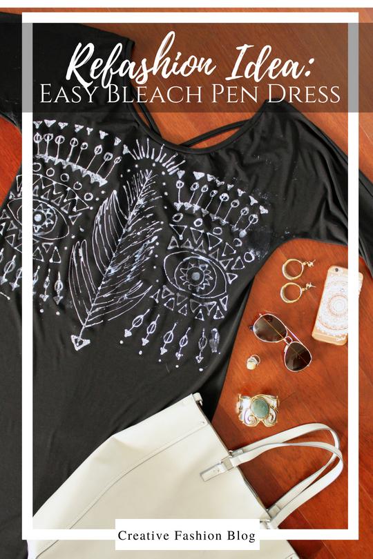 DIY Bleach Pen Little Black Boho Dress Full Tutorial clothing refashion