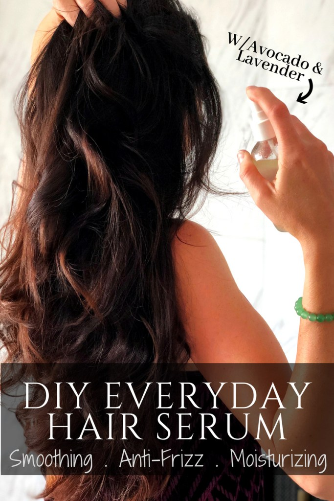 DIY hair serum anti frizz shine spray with avocado and lavender essential oils