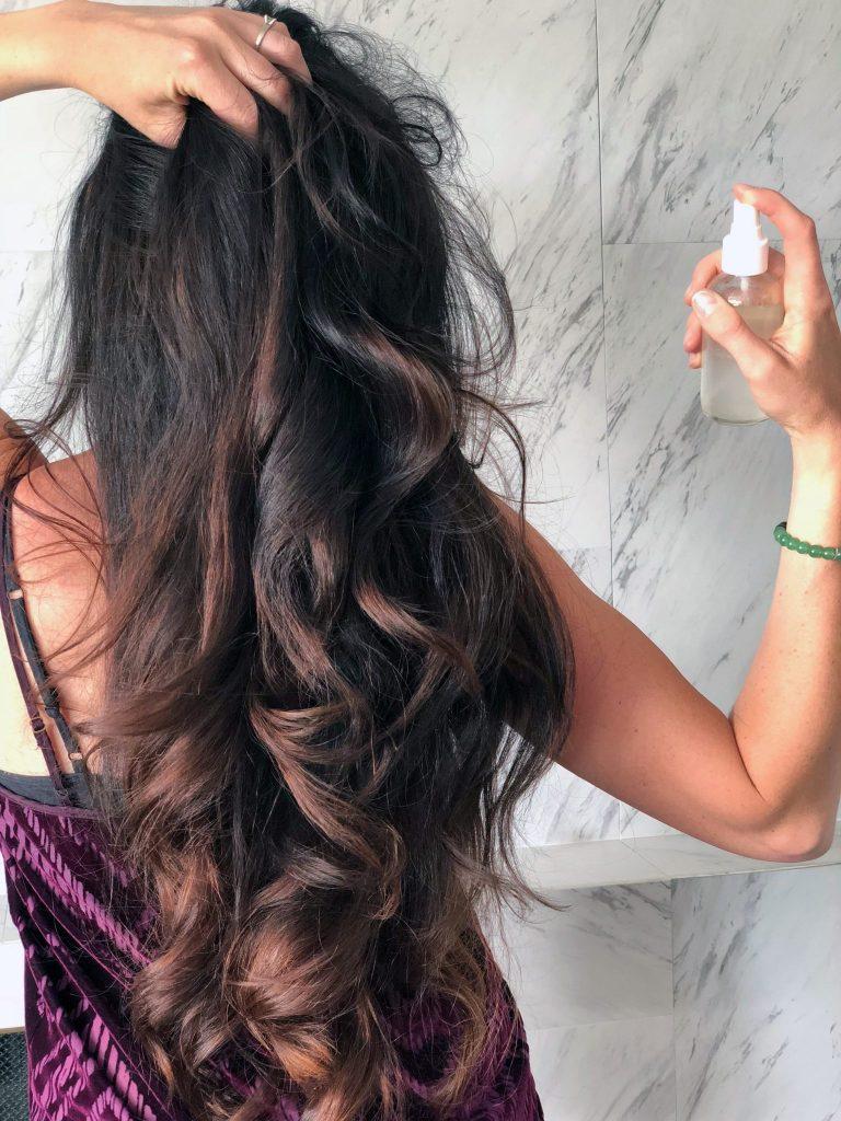 DIY hair serum anti frizz spray with avocado and lavender essential oils