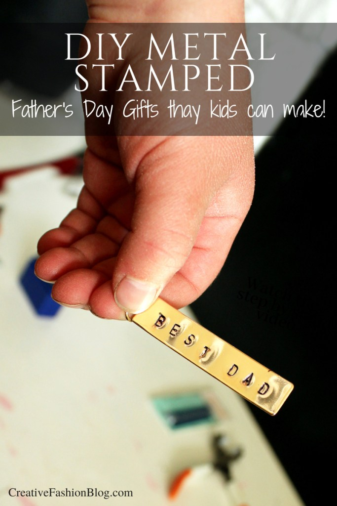 Easy DIY fathers day gifts from kids stamped metal ring -
