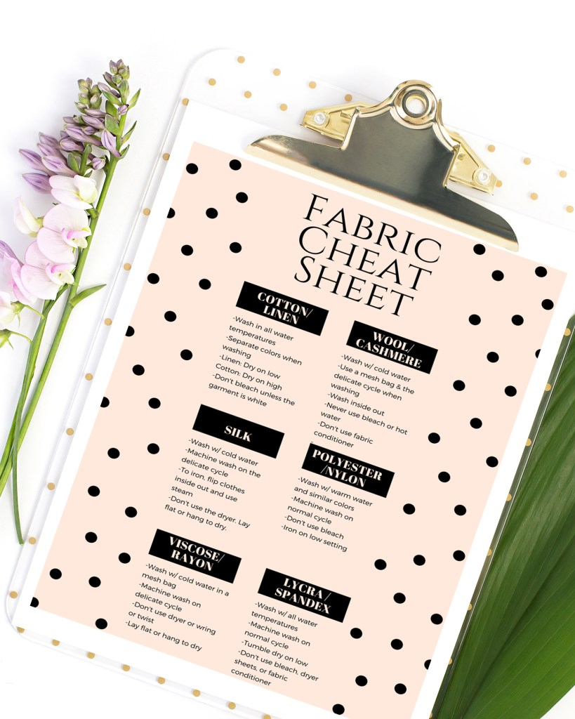 Fabric Cheat Sheet printable