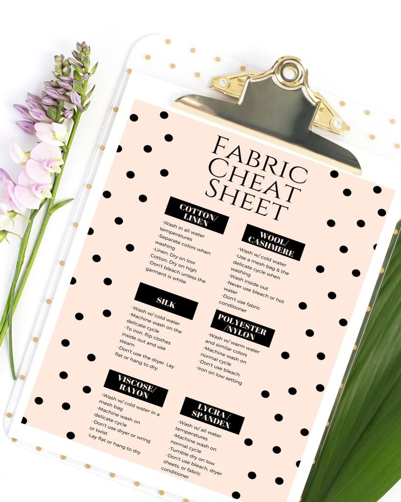 Fabric Cheat Sheet printable